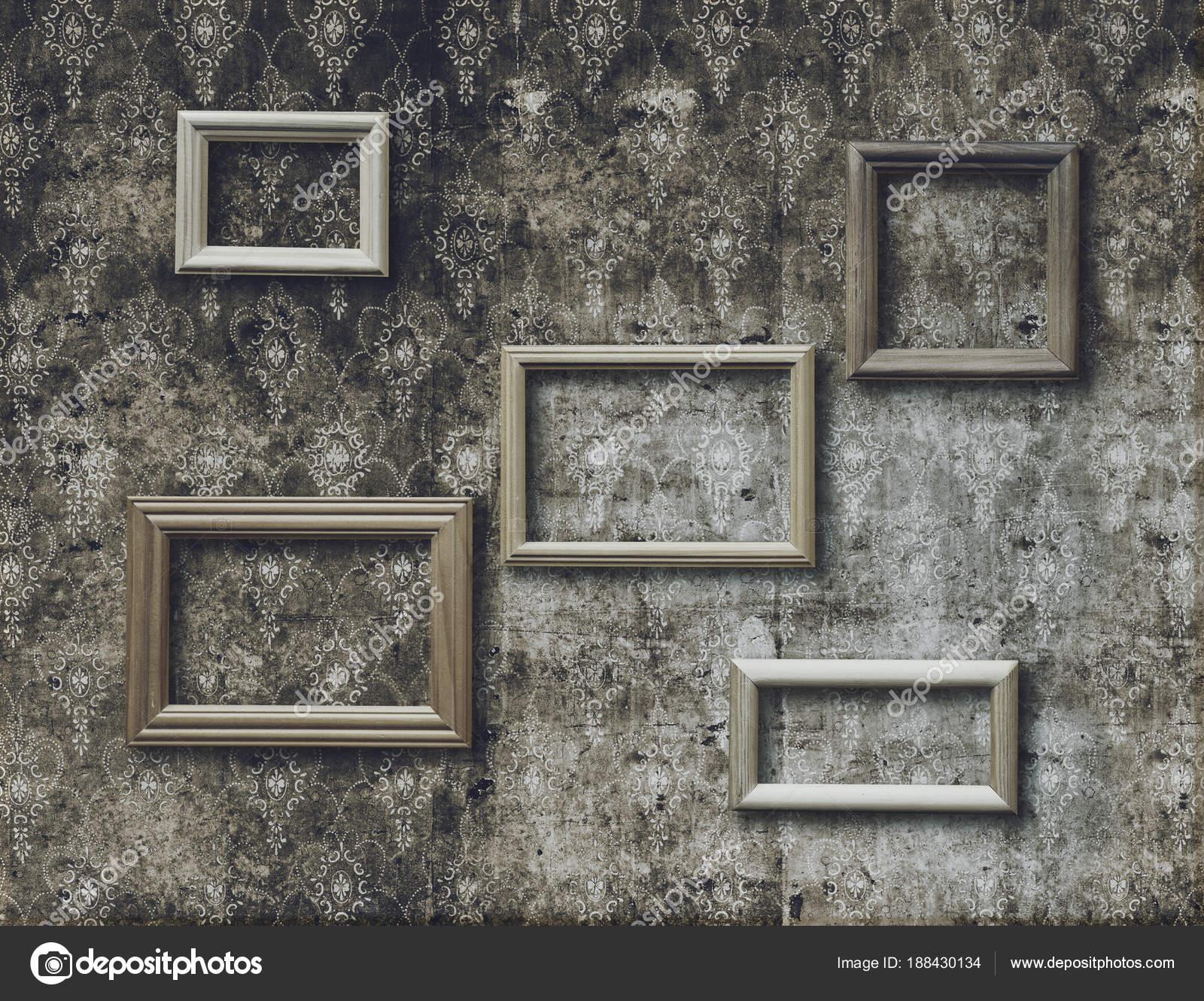 Vintage Bilderrahmen Auf Alten Retro Tapete — Stockfoto © avlntn ...
