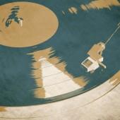 Fényképek retro zenei háttér poszter vinyl lp lemezjátszó
