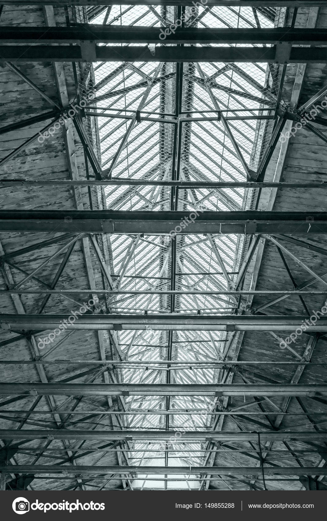 Roof Of Industrial Building Ceiling Of Factory With Steel Beams