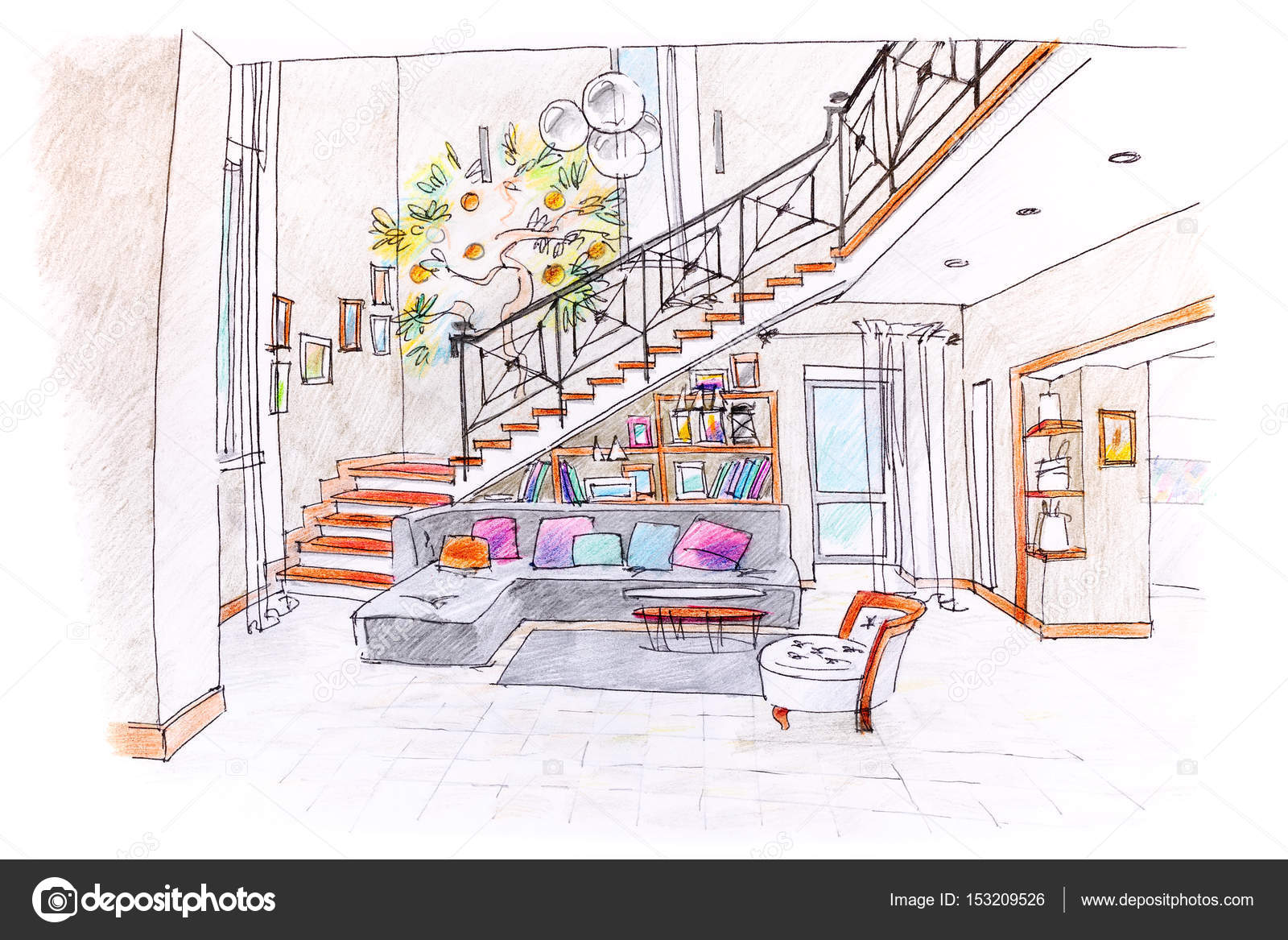 Colored drawing of modern room design blueprint of living room colored hand drawing of modern room design blueprint of living room with furniture photo by mrtwister malvernweather Image collections
