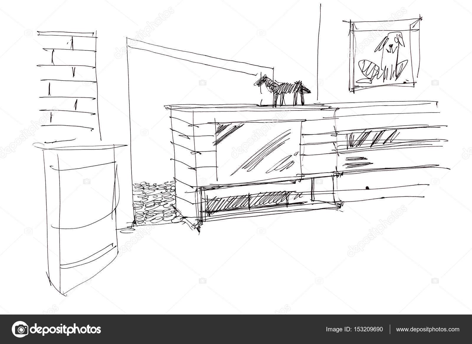 schizzo a mano libera progettazione di soggiorno interni e mobili ...