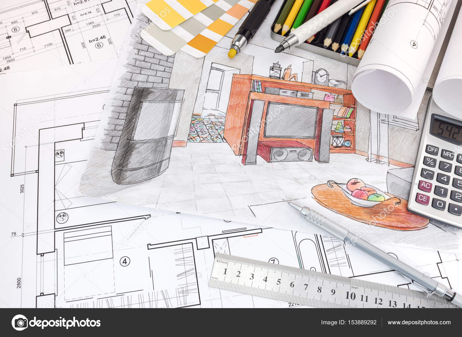 Interior Designer Workspace With Sketches Of Apartment And Drawing Tools U2014  Stock Photo