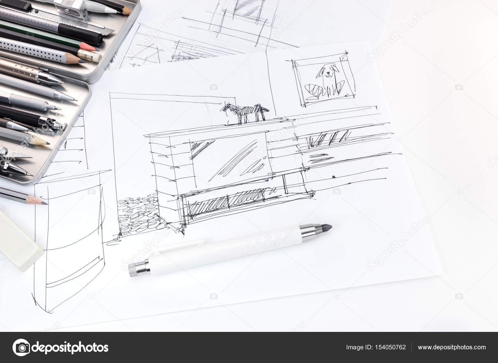 hand het tekenen van de schets van interieur en meubels voor de ...