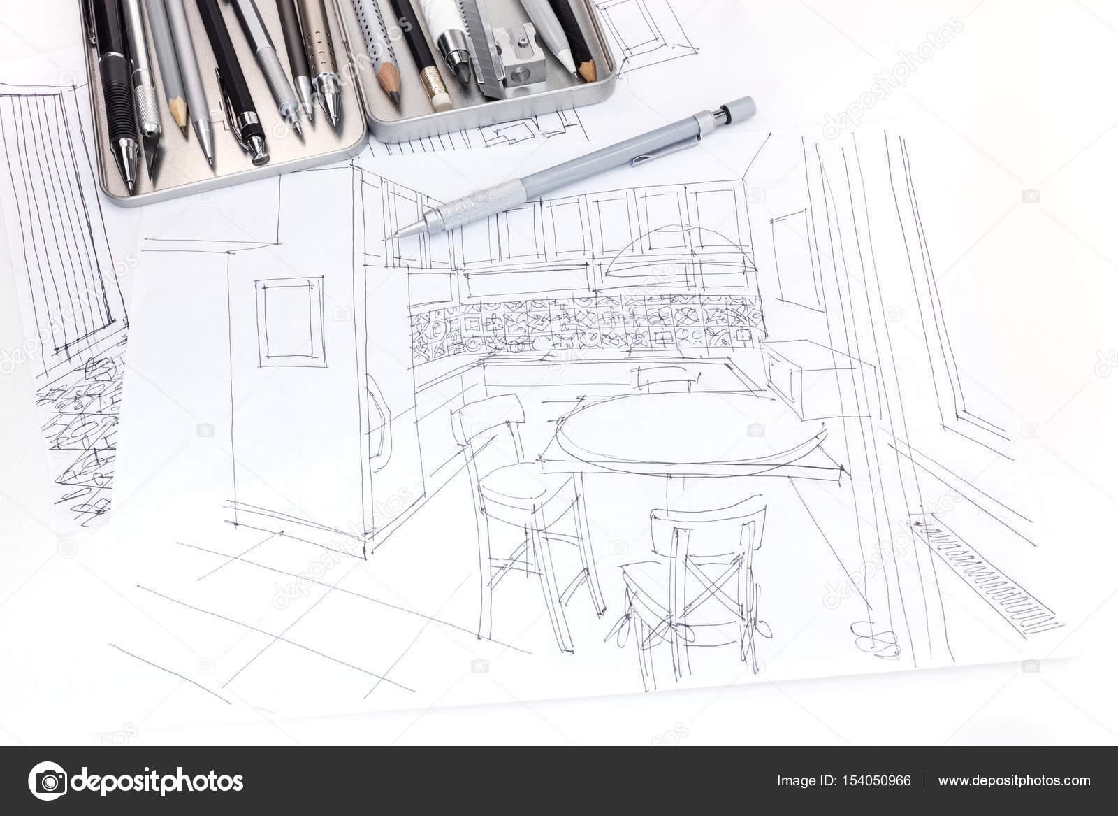 bosquejo gráfico de planos de interiores y muebles de cocina con ...