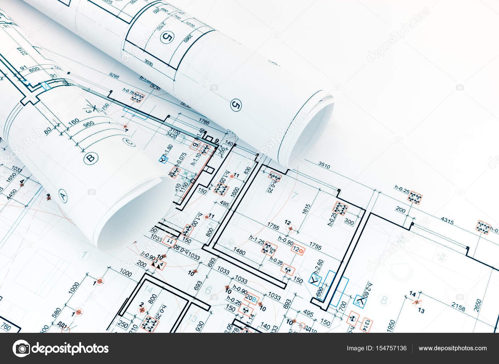 Engineering Und Technische Zeichnungen, Grundrisse, Rollen Von Architektur  Entwürfe U2014 Foto Von MrTwister