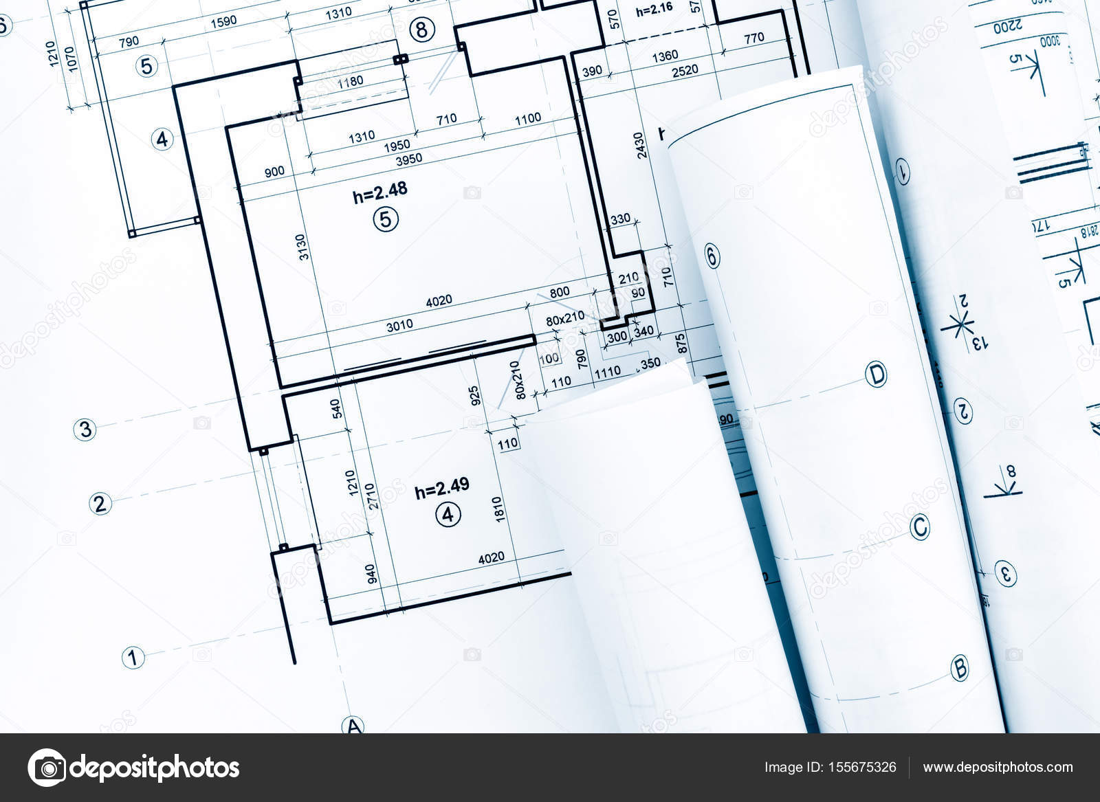 Rolls Of Architectural Blueprints And Project Plan On Architect Workplace U2014  Stock Photo