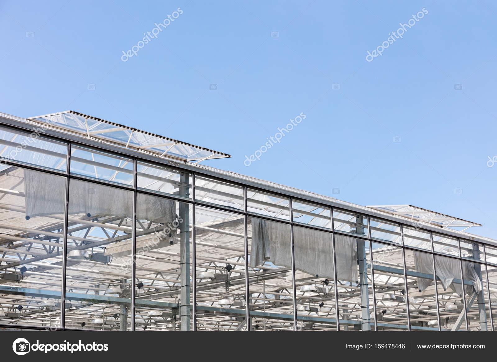 Gewachshaus Mit Offenen Fenster Zum Luften Gegen Blauen Himmel