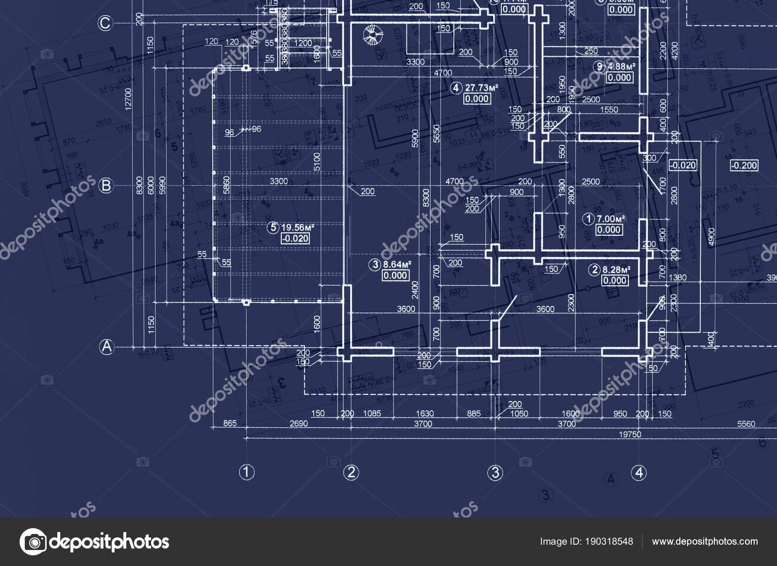 House blueprint on architects desk engineering drawings and plans house blueprint on architects desk engineering drawings and plans on blue background stock photo malvernweather Images