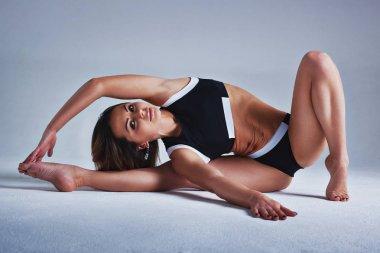 Woman sports stretching