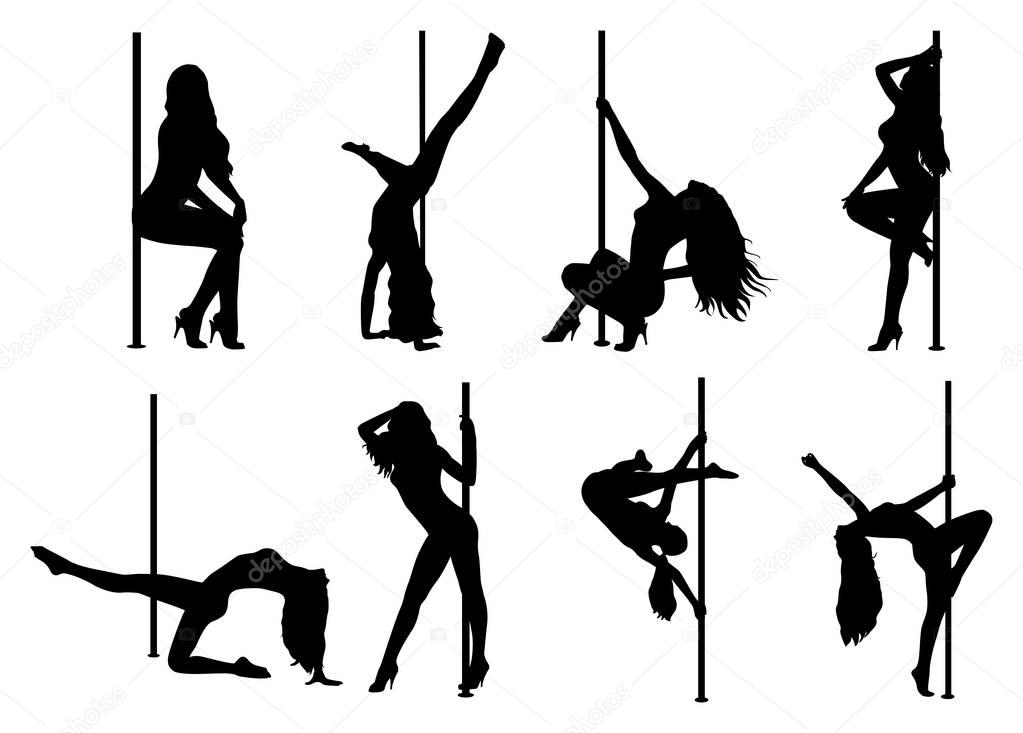 Pole dance women silhouettes. EPS 10 format. clipart vector
