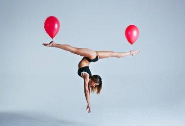 Woman balloon levitation