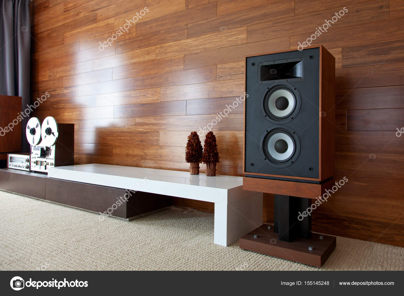 Vintage audio systeem in minimalistisch modern interieur