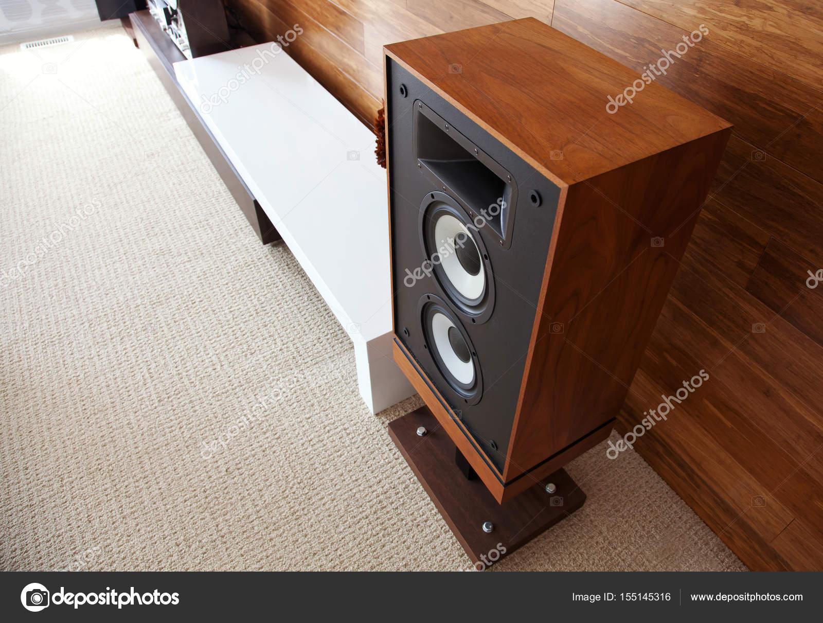 Vintage audio luidspreker in minimalistisch modern interieur