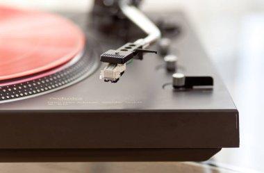 Ontario, Canada - December 26 2017: Record Player Tonearm Headshell