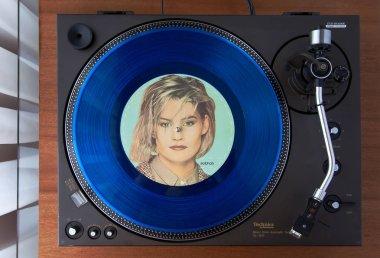 Ontario, Canada - December 26 2017: Vintage Vinyl Record Player Turntable