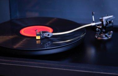 Vintage Stereo Turntable Plays Red Vinyl Record Album, Tonearm w