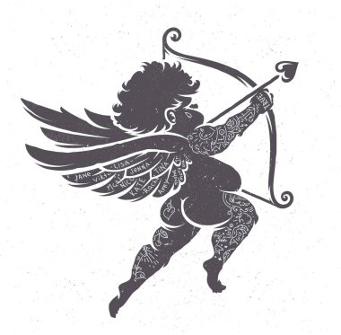 Vector Cupid silhouette with tattoos. Retro stiled ink art. clip art vector