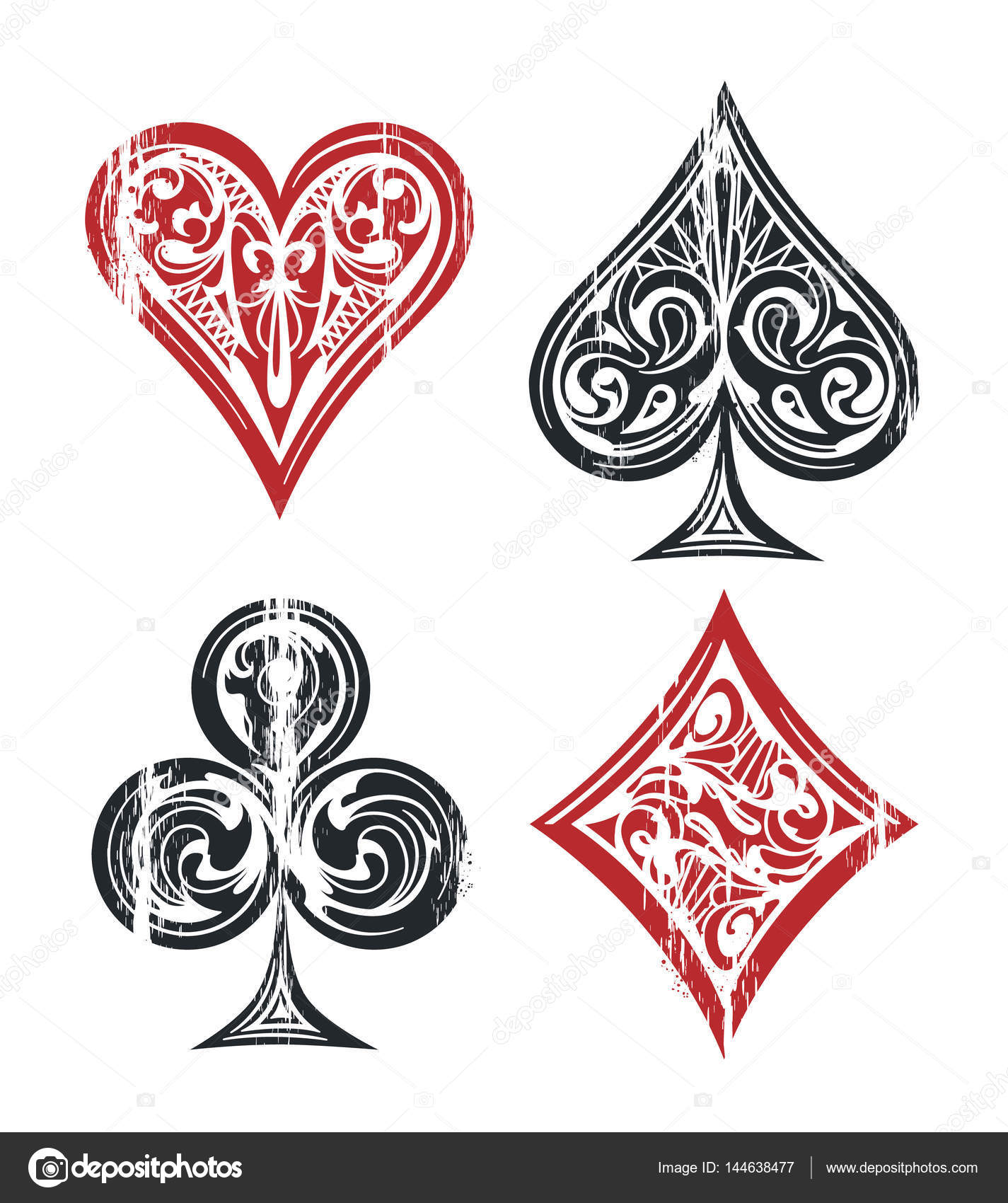 Playing cards symbols stock vector vecster 144638477 card suit vintage symbols isolated on white weathered graphic of playing cards symbols with vintage patterns vector graphic vector by vecster biocorpaavc