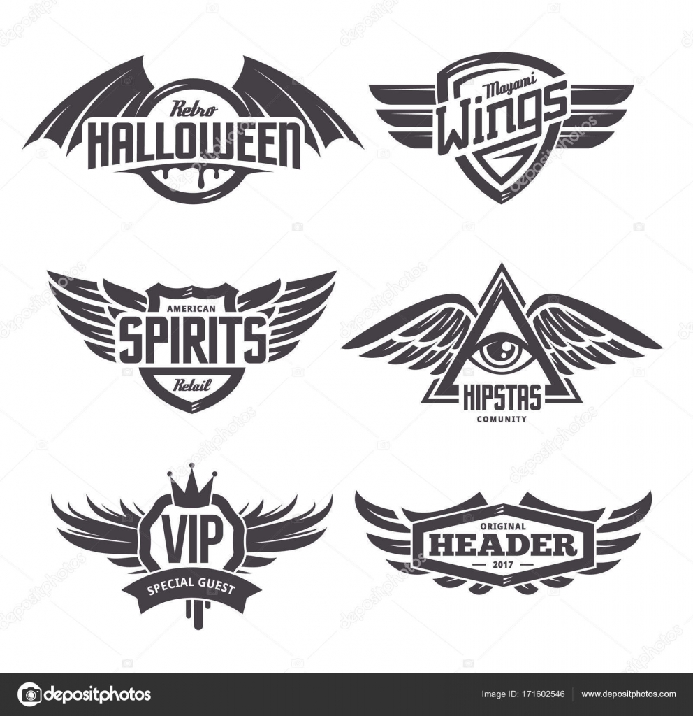 Emblems with Wings Set — Stock Vector © Vecster #171602546