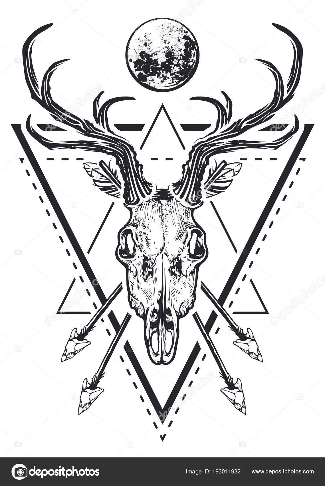 Oak vintage base. Carved deer skull Geometric Tattoo style
