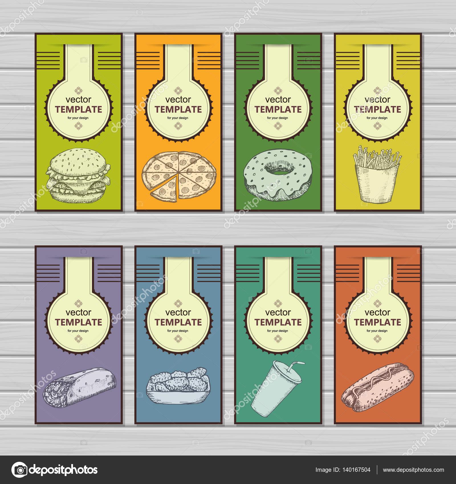 fast food menu design template hand drawn vector stock vector