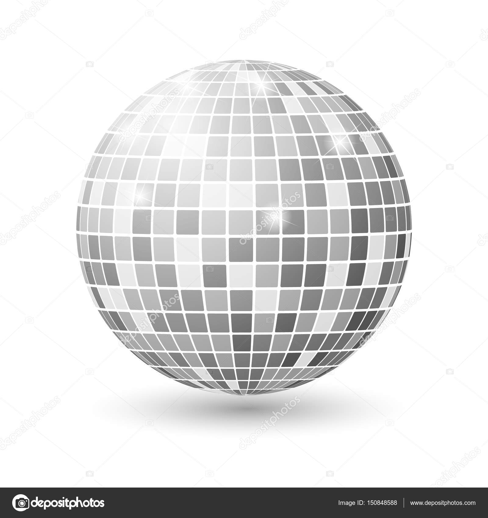Disco Ball Isolated Ilration Night Club Party Light Element Bright Mirror Silver Design