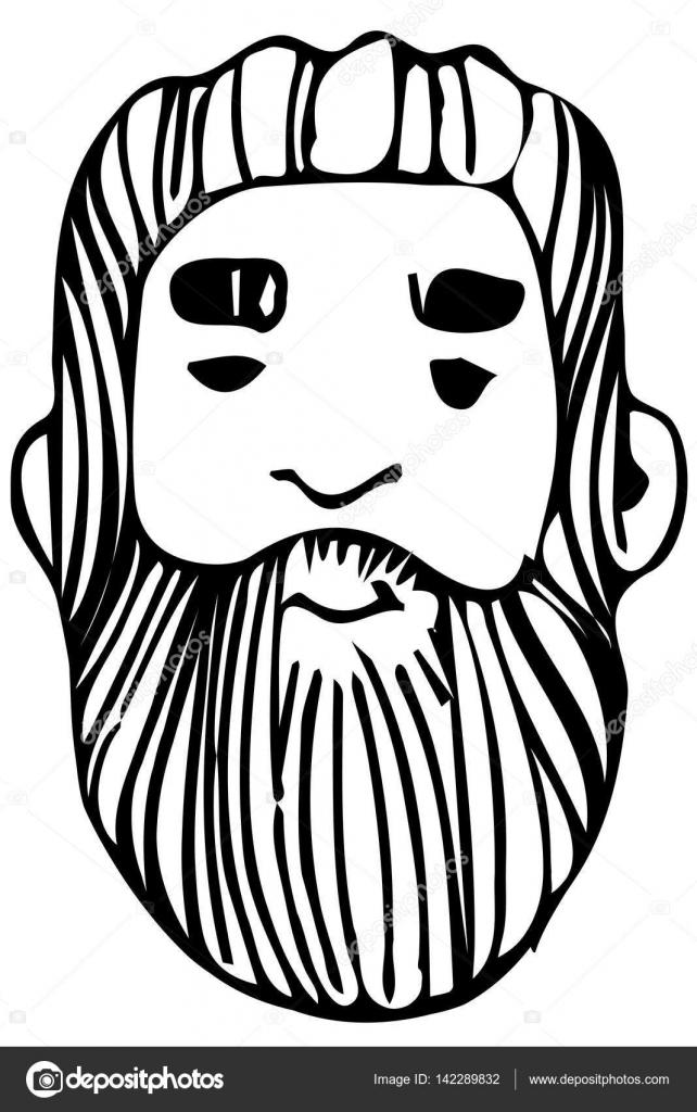 Caras de ancianos para colorear | dibujo de vectores de la cara de ...