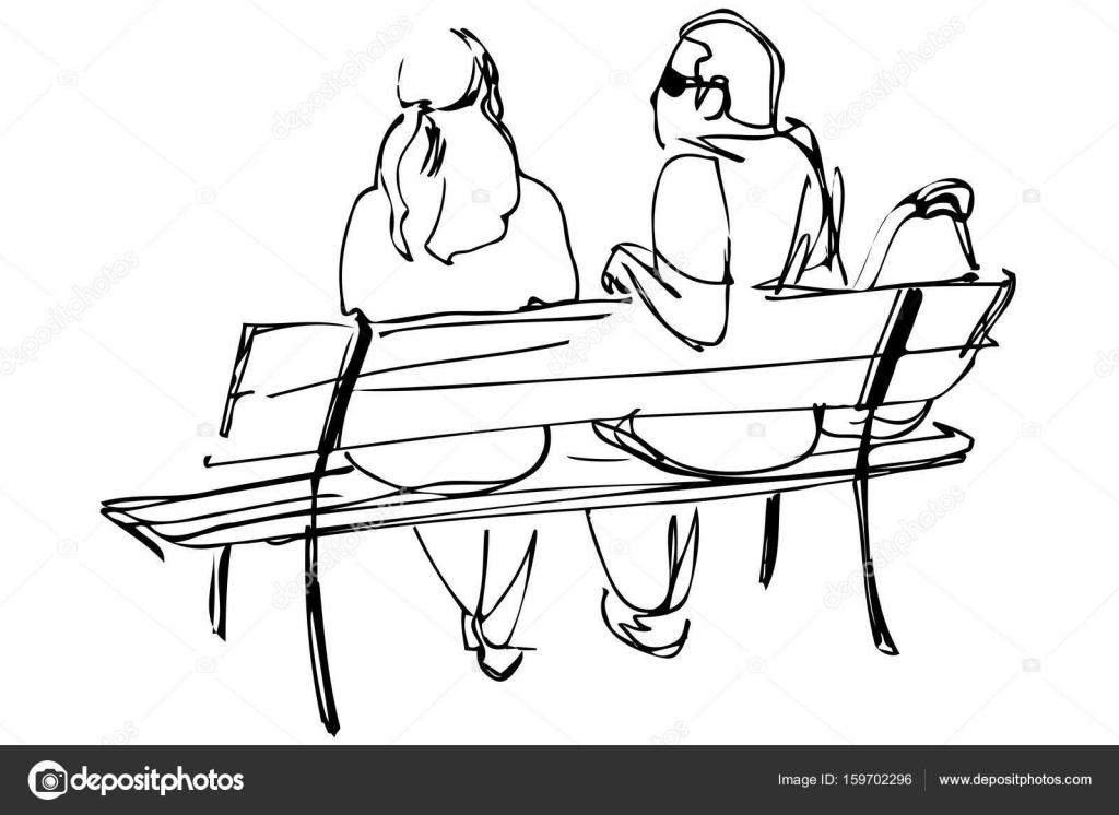 Dibujo De Una Pareja De Jóvenes Sentados En Un Banco