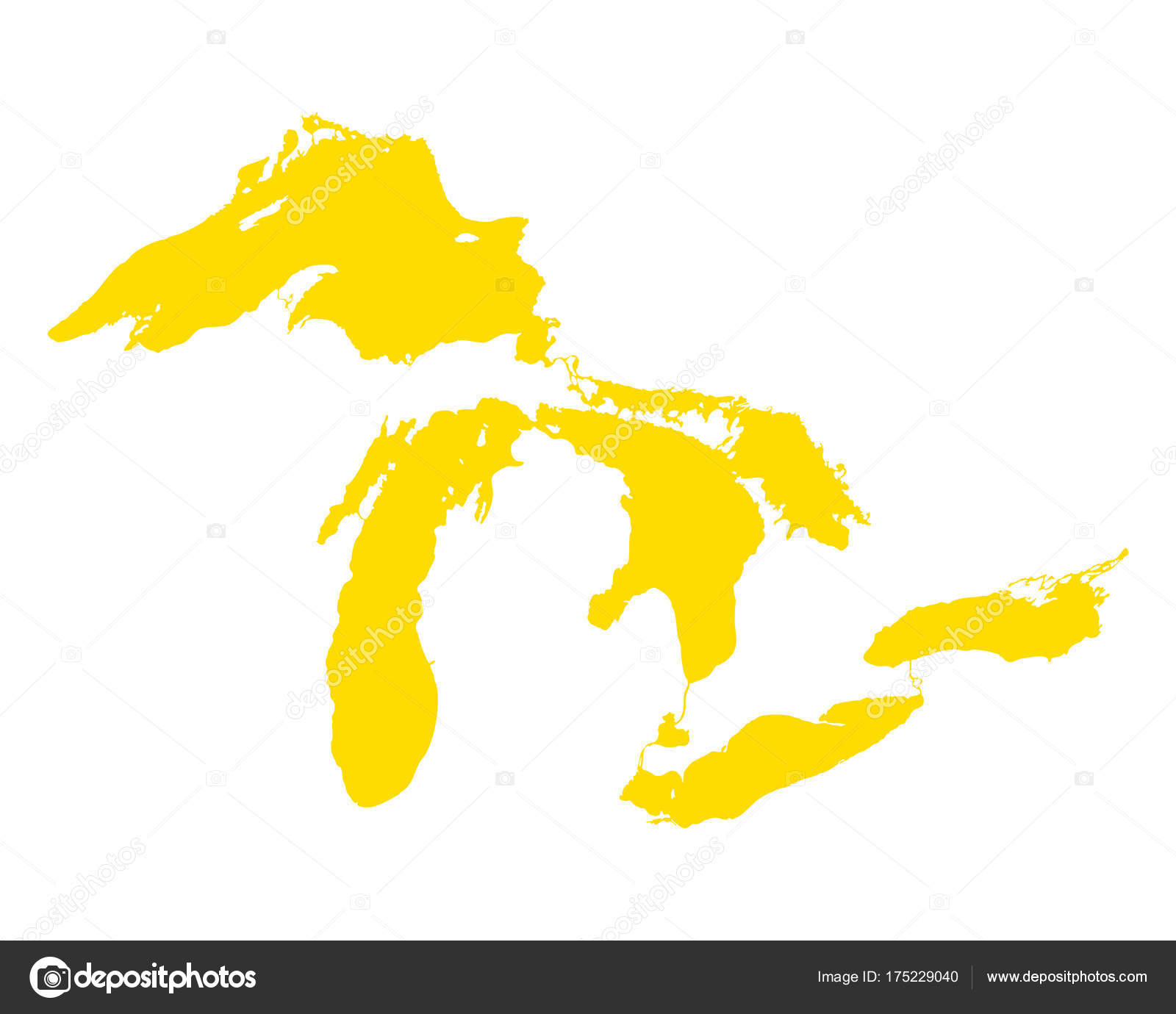 map of great lakes stock vector rbiedermann 175229040