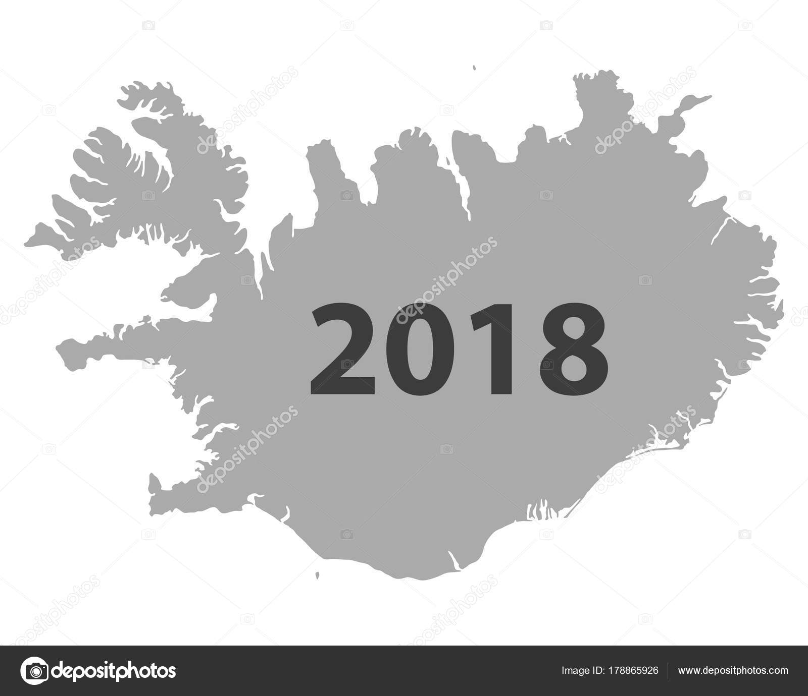 Map of Iceland 2018 — Stock Vector © rbiedermann #178865926