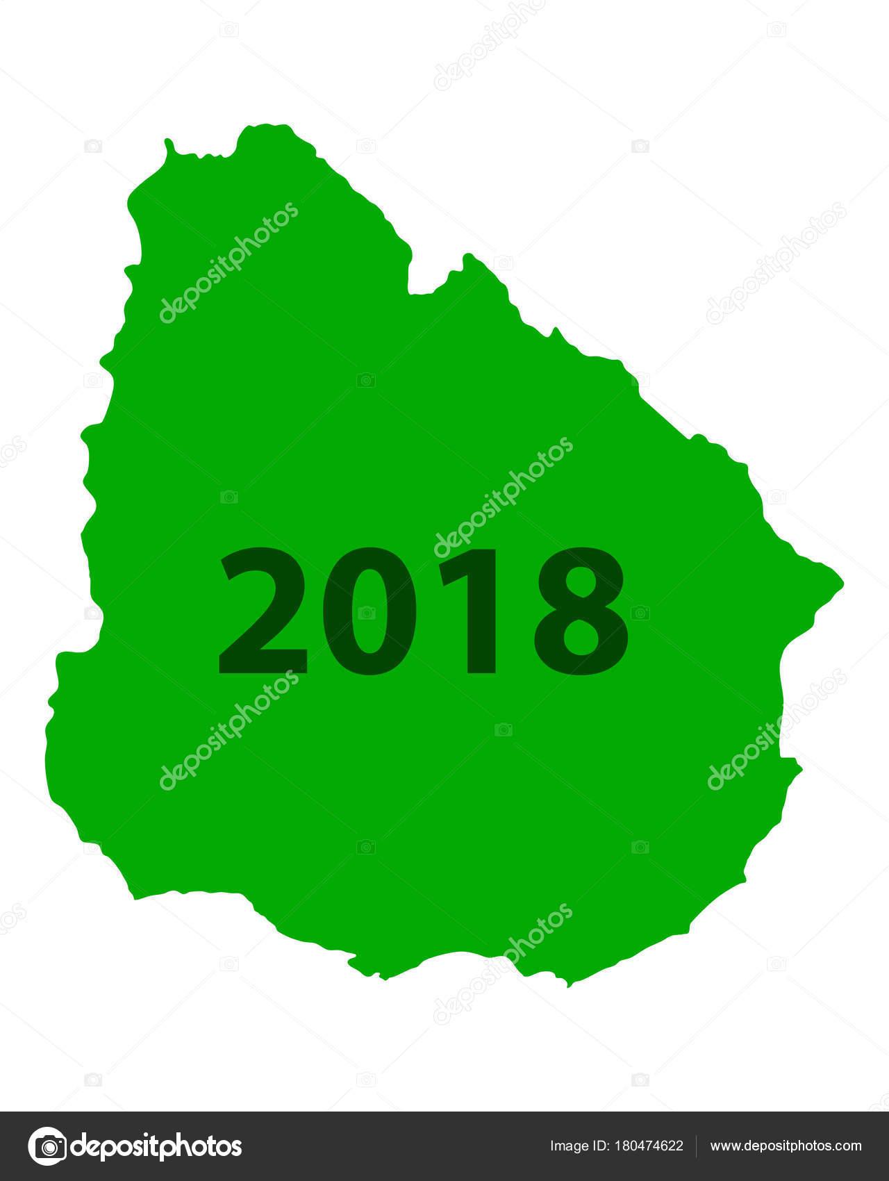 Map of Uruguay 2018 — Stock Vector © rbiedermann #180474622