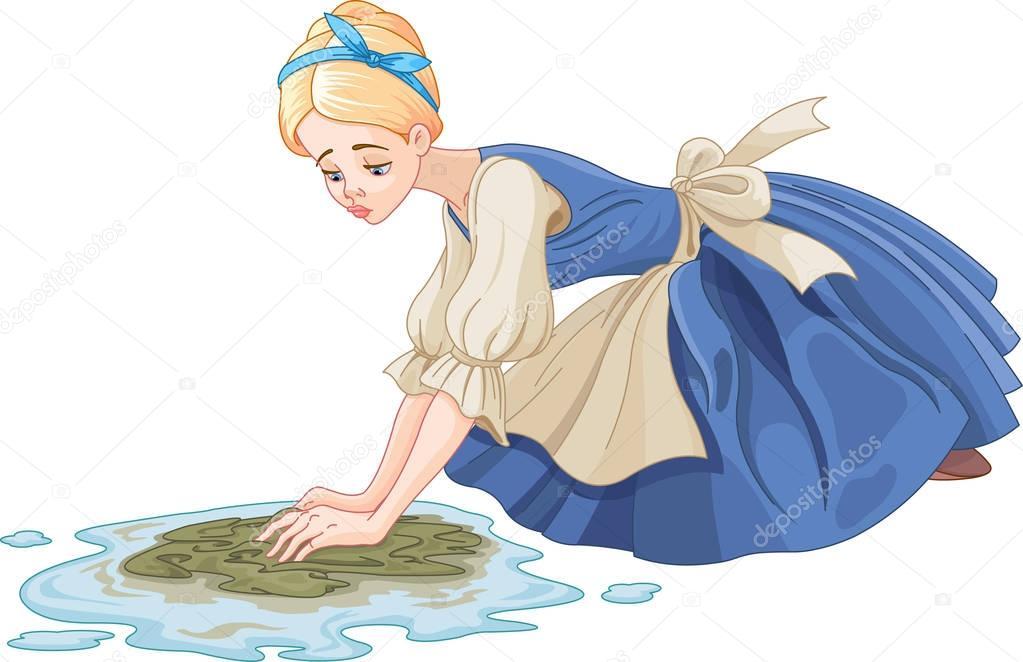 Sad Cinderella cleaning the floor
