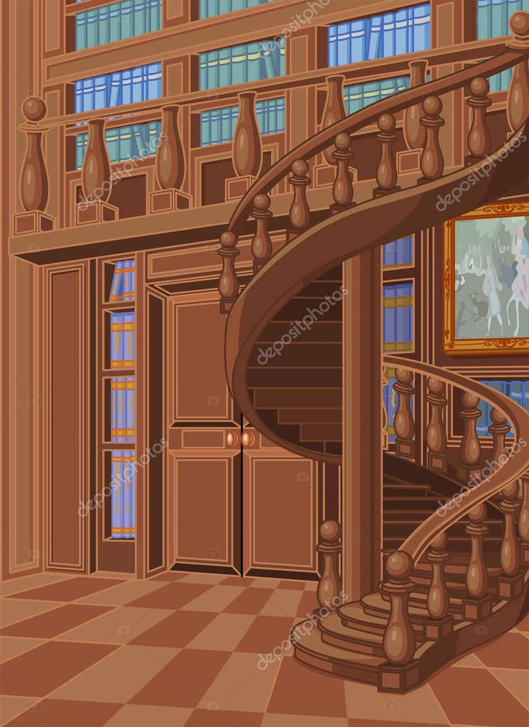 Wooden library illustration
