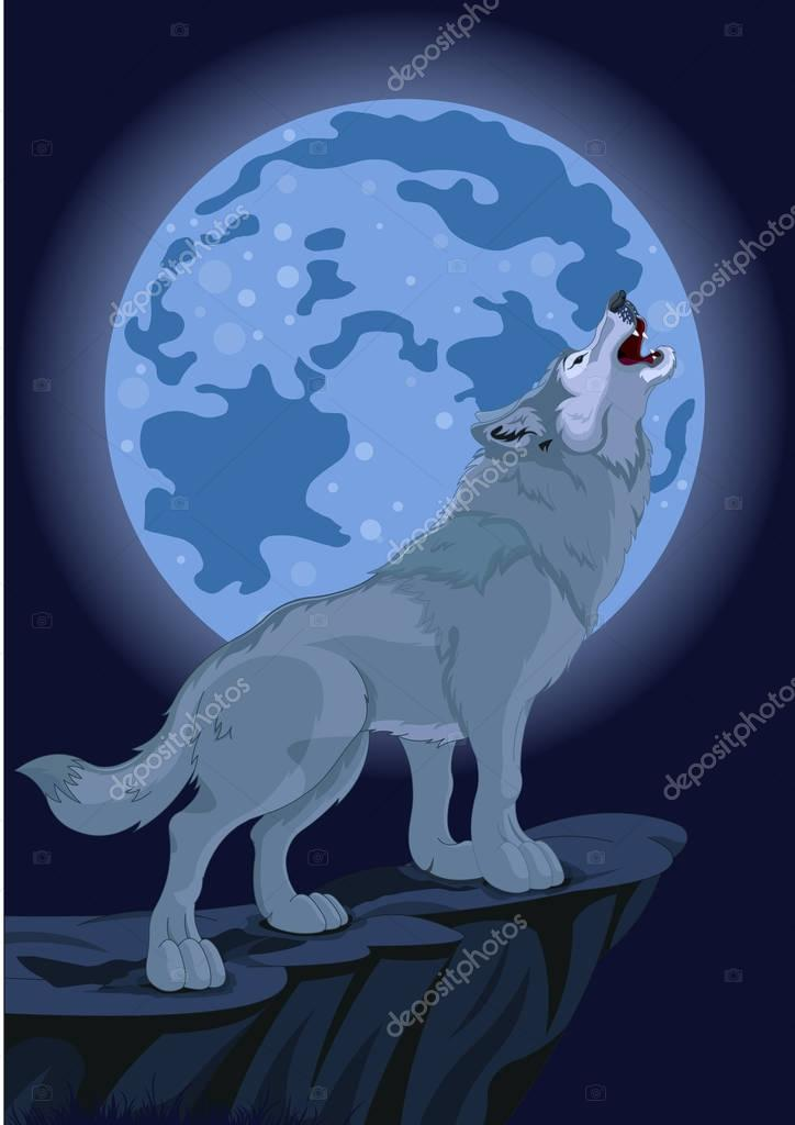 howling wolf that stands on cliff