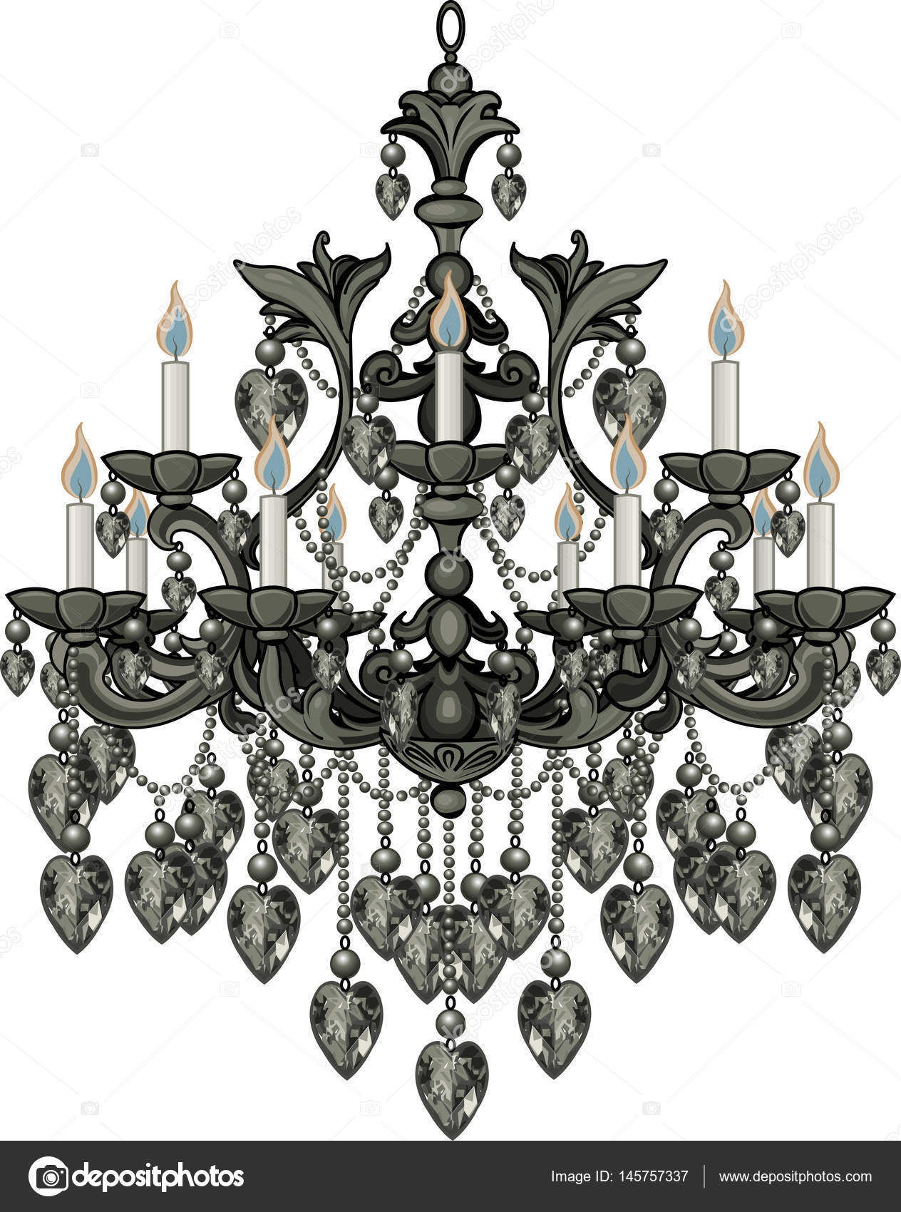 Baroque black crystal chandelier stock vector dazdraperma 145757337 baroque black crystal chandelier stock vector mozeypictures Gallery