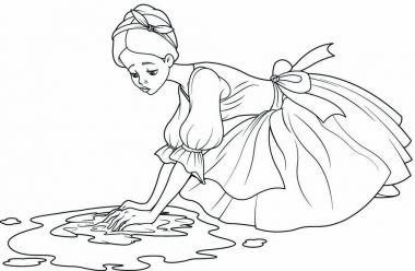 Cinderella washes the floor with rag