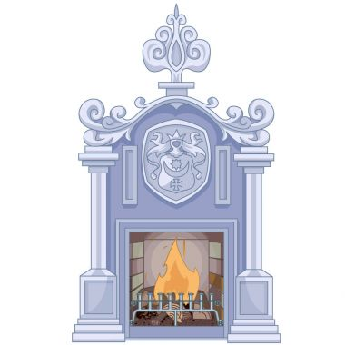 Vector illustration of beautiful medieval fireplace clip art vector