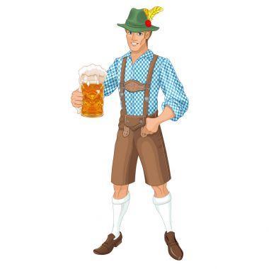 man with mug of beer celebrating Oktoberfest