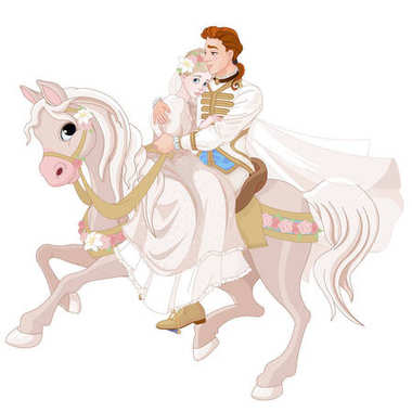 Cinderella and Prince riding on white horse