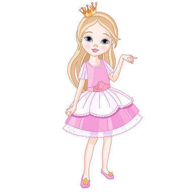 cartoon beautiful princess, vector illustration