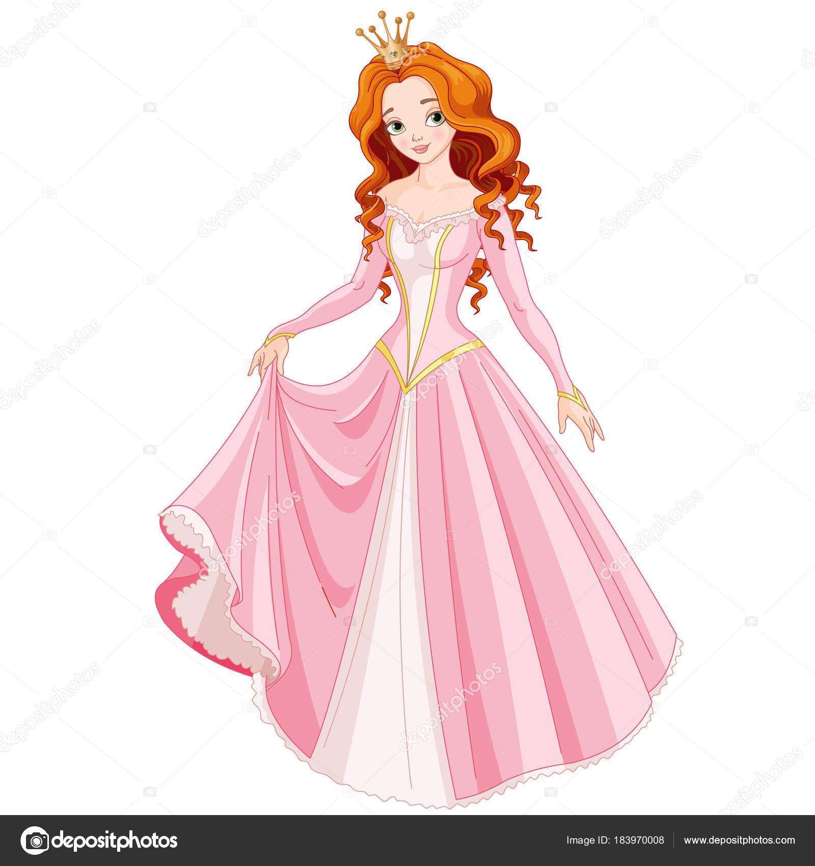 Princesa Bonita Pelirroja Vestida Con Vestido Rosa Tiara Oro ...