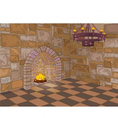 medieval castle interior, vector illustration