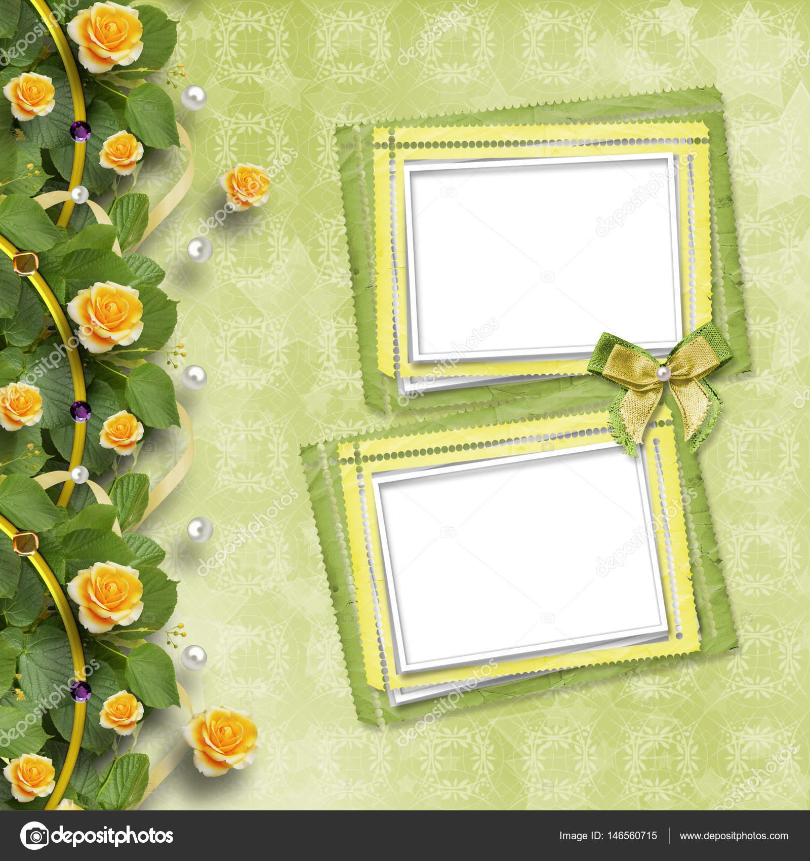 Schöne Grußkarte mit gelben Rosen und Papier Rahmen — Stockfoto ...