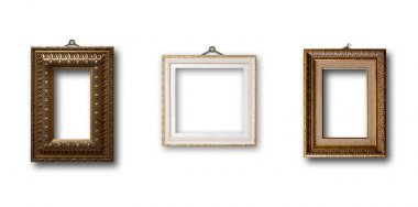 Set of picture gold wooden frame on white isolated background stock vector
