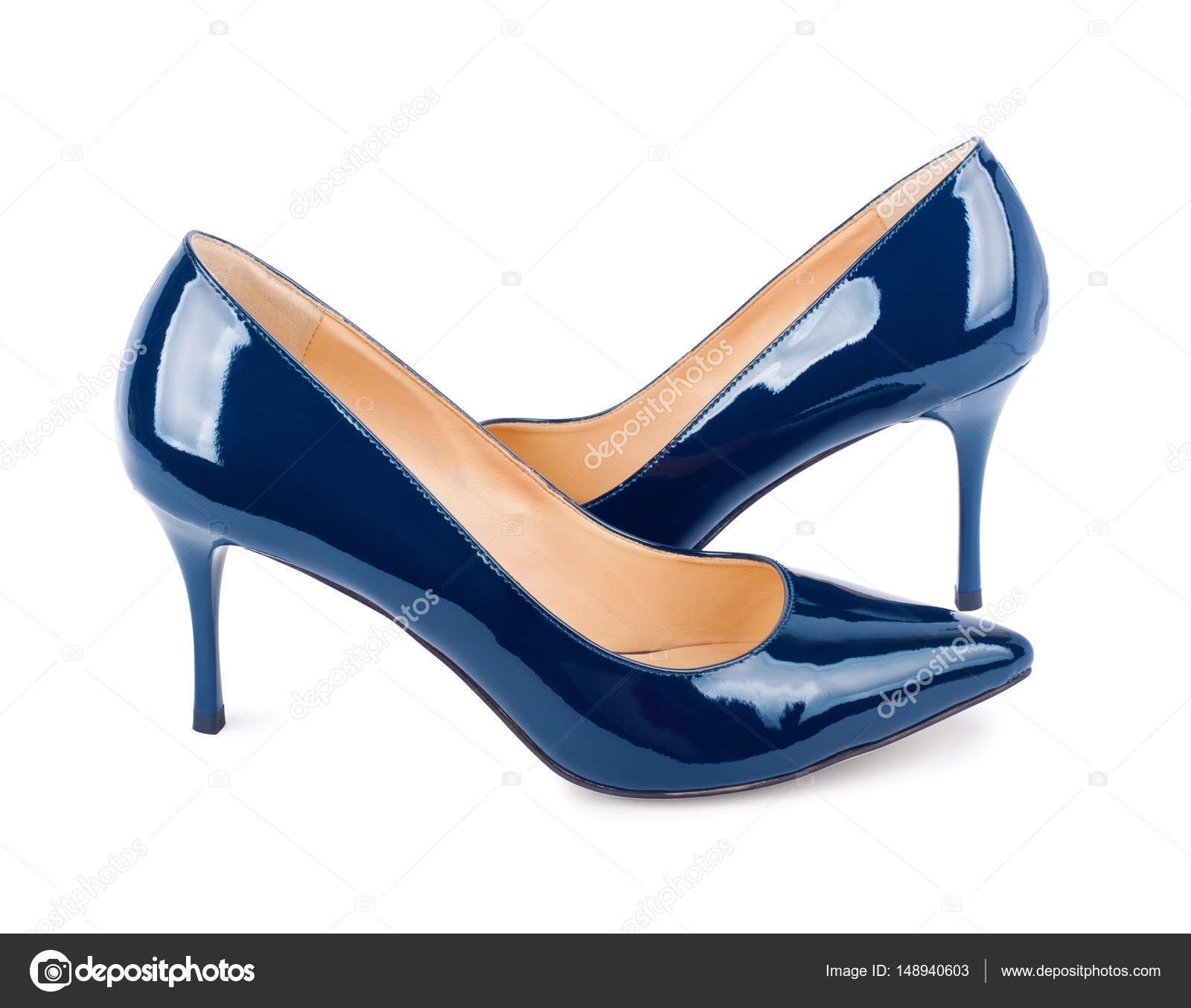 3fc64b9287b Beautiful blue classic women shoes isolated on background — Stock ...