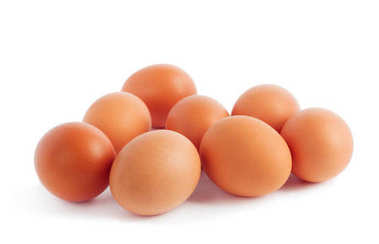 Fresh yellow chicken eggs on white  background