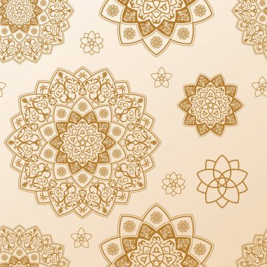 Seamless mandala pattern. Ethnic vector vintage elements
