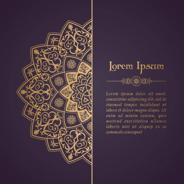 Oriental vector ornament. Ethnic lace pattern in eastern style. Golden mandala on background for design templates, greeting cards, wedding invitations. Decor outline stock vector