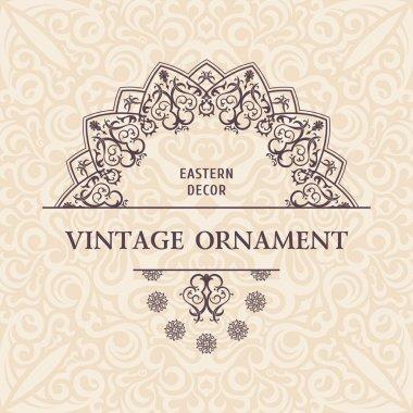 Oriental vector ornament. Ethnic lace pattern in eastern style. Golden mandala
