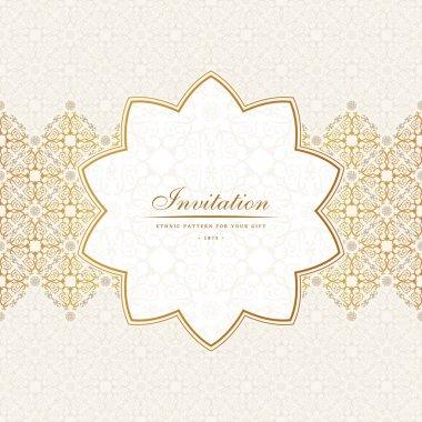 Vector Banner islam ethnic design. Invitation vintage label. Blank frame and sticker emblem